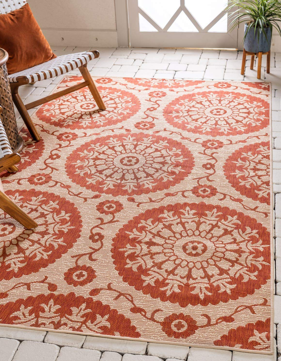 Unique Loom Outdoor Botanical Collection Floral Abstract Transitional Indoor and Outdoor Flatweave Beige Terracotta Area Rug 6 0 x 9 0