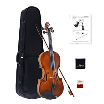 Aileen Violin 4/4 Quarter Size para principiantes Vintage Handmade Outfit con estuche rígido, arco, colofonia, puente y paño de pulido