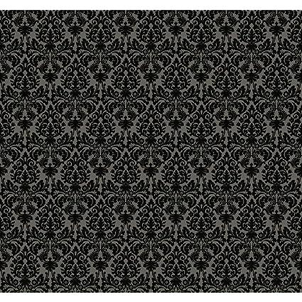 York Wallcoverings WP2448 Waverly Small Prints Essence Wallpaper Dark Stone Grey Glittering Black