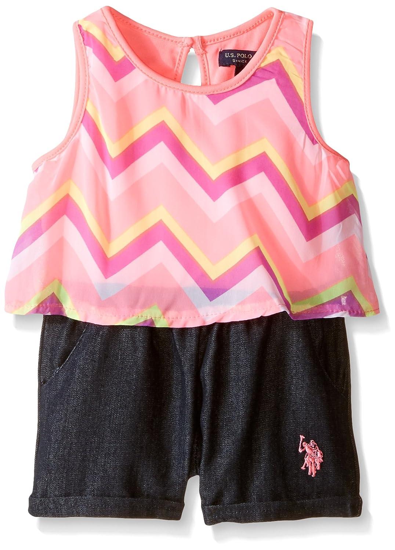 Girls Sleeveless Flounce Chiffon Print Top and Denim Bottom Romper U.S Polo Assn