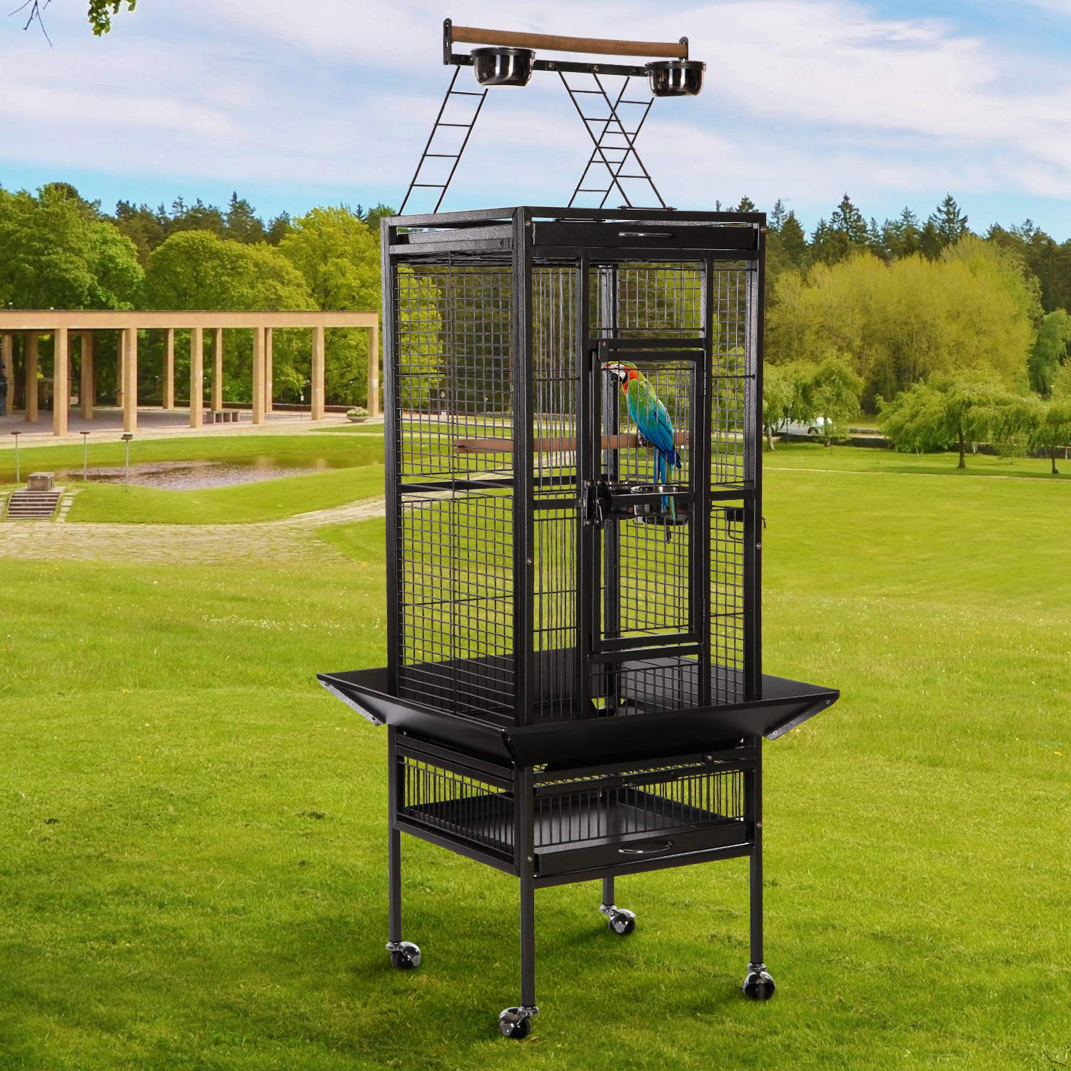 e6801ac2a4d1 VECELA Bird cage Wrought Iron Flight cage Parrot cage 53/61/68inch Large  Bird cage Rolling Trolley Metal Wheels