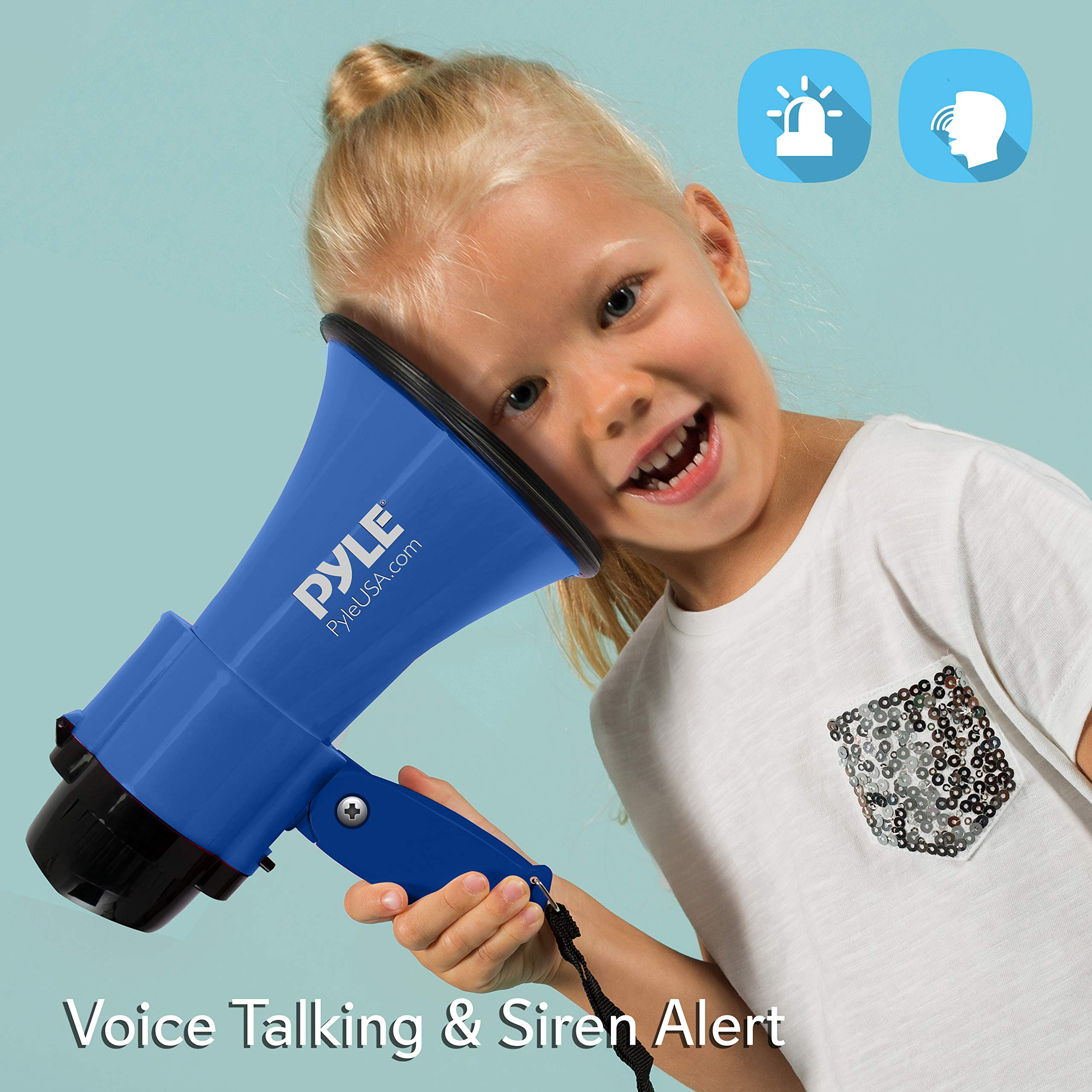 Portable Megaphone Speaker Siren Bullhorn - Compact and Battery Operated with 30 Watt Power, Microphone, 2 Modes, PA Sound and Foldable Handle for Cheerleading and Police Use - Pyle PMP31BL (Blue) by Pyle (Image #5)