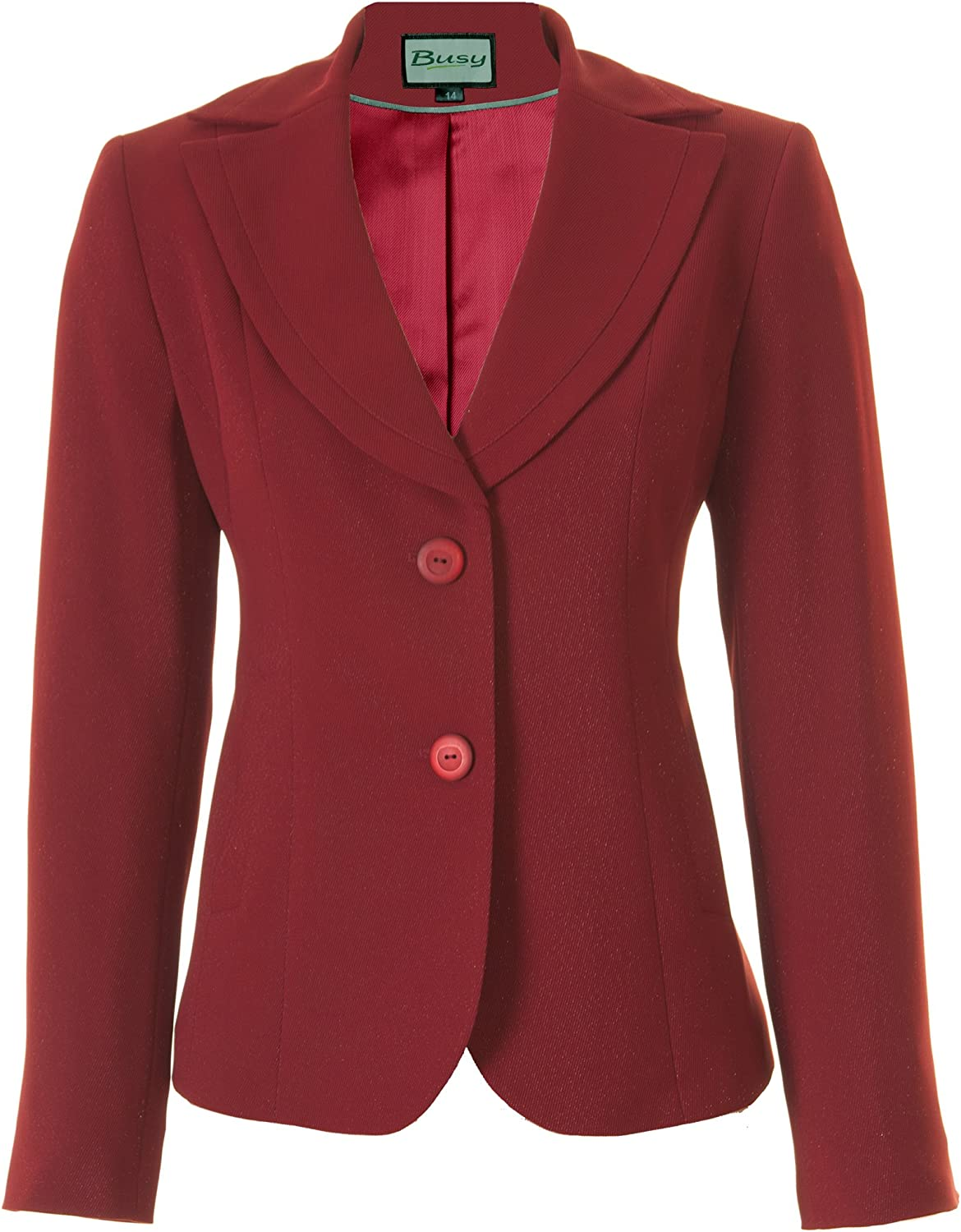 Busy Womens Suit Jacket Sparkle Red