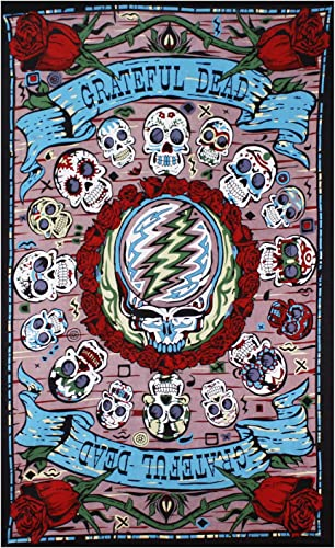 Sunshine Joy Grateful Dead 3D Mexicali Sugar Skulls Tapestry Tablecloth Wall Art Beach Sheet Huge 60×90 Inches – Amazing 3D Effects