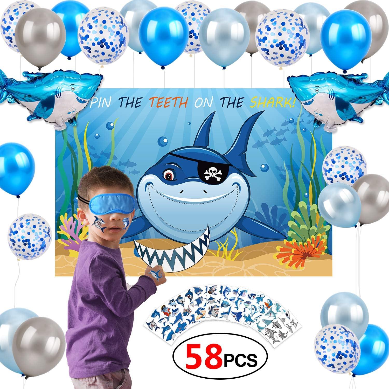 Konsait Shark Party Decoration Game Kit,Pin The Teeth on The Shark Game Poster Latex Confetti Foil Mylar Balloons Temporary Tattoos for Ocean Under The Sea Shark Themed Birthday Bay Bday Decor