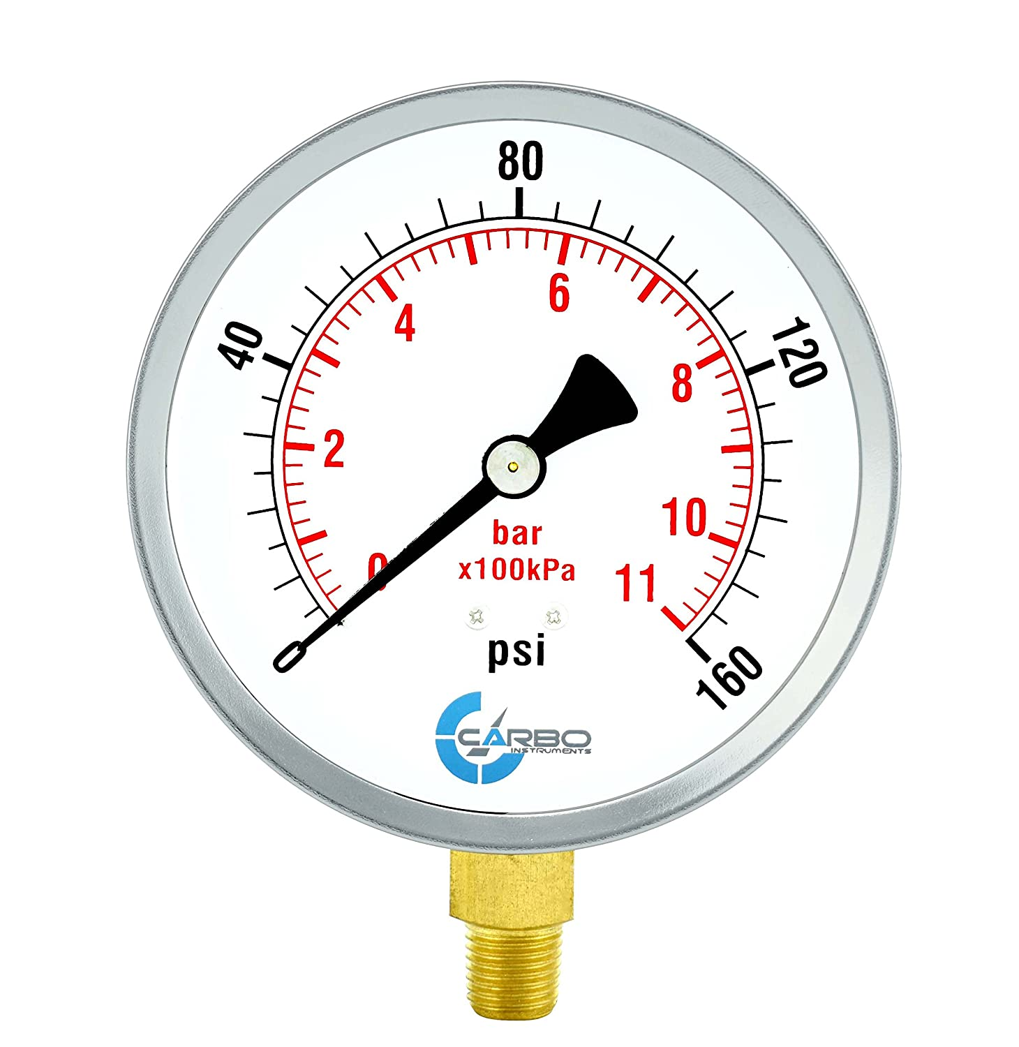 CARBO Instruments 2-1//2 Pressure Gauge Lower Mount 1//4 NPT 0-60 psi//kPa Dry Chrome Plated Steel Case