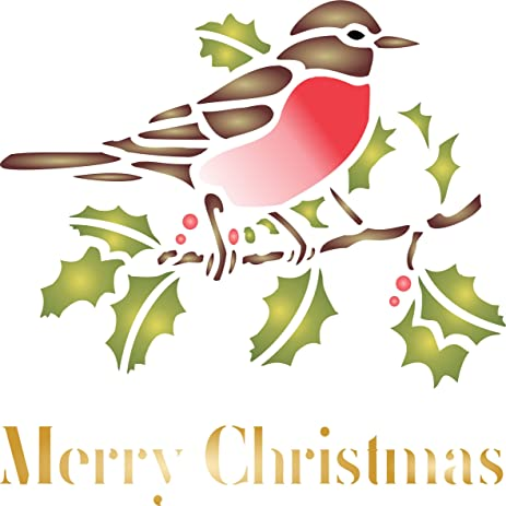 amazon com christmas robin stencil size 6 5 x 6 5 reusable