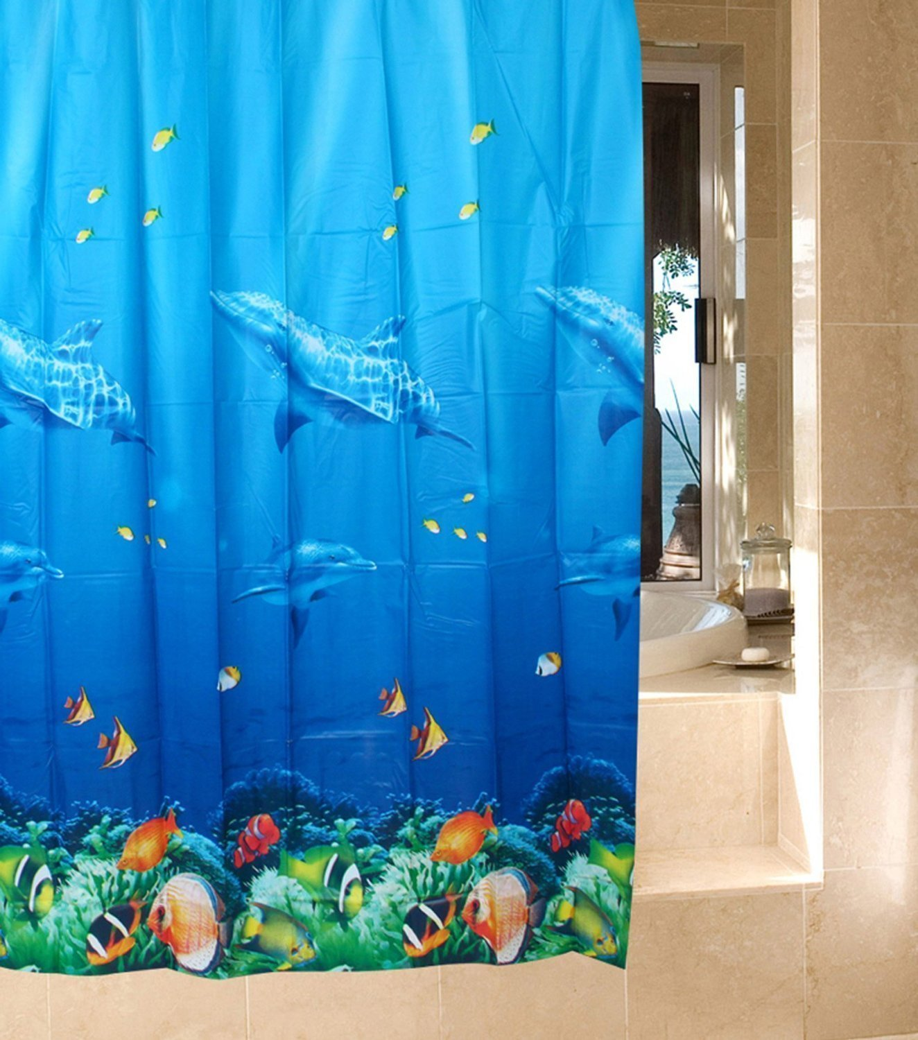 Dolphin Tropical Fish Coral Ocean Theme Bath Shower Curtain With 12 Hooks Multicolor Amazoncouk Kitchen Home