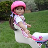 White Doll Bike Seat with Decorate Yourself Stickers for 18 inch Dolls (White Doll Bike Seat)