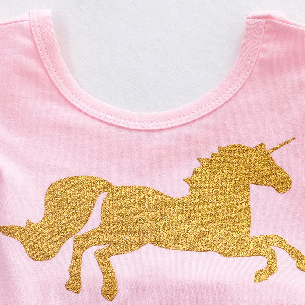 Yiding Baby Jumpsuit Dress Cartoon Golden Unicorn Pink Color Princess gause Short Skirt