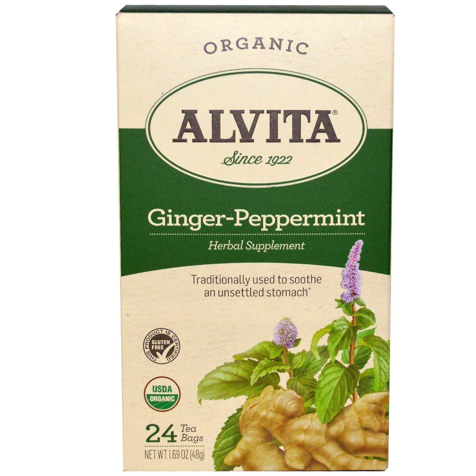 Alvita Teas, Ginger-Peppermint, Organic, Caffeine Free, 24 Tea Bag, 1.69 oz (48 g) - 3PC by  (Image #1)