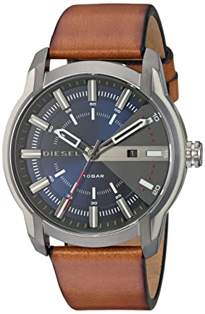 Amazon.com: Diesel Mens Armbar Quartz Stainless Steel and Leather Watch, Color:Brown (Model: DZ1784): Watches