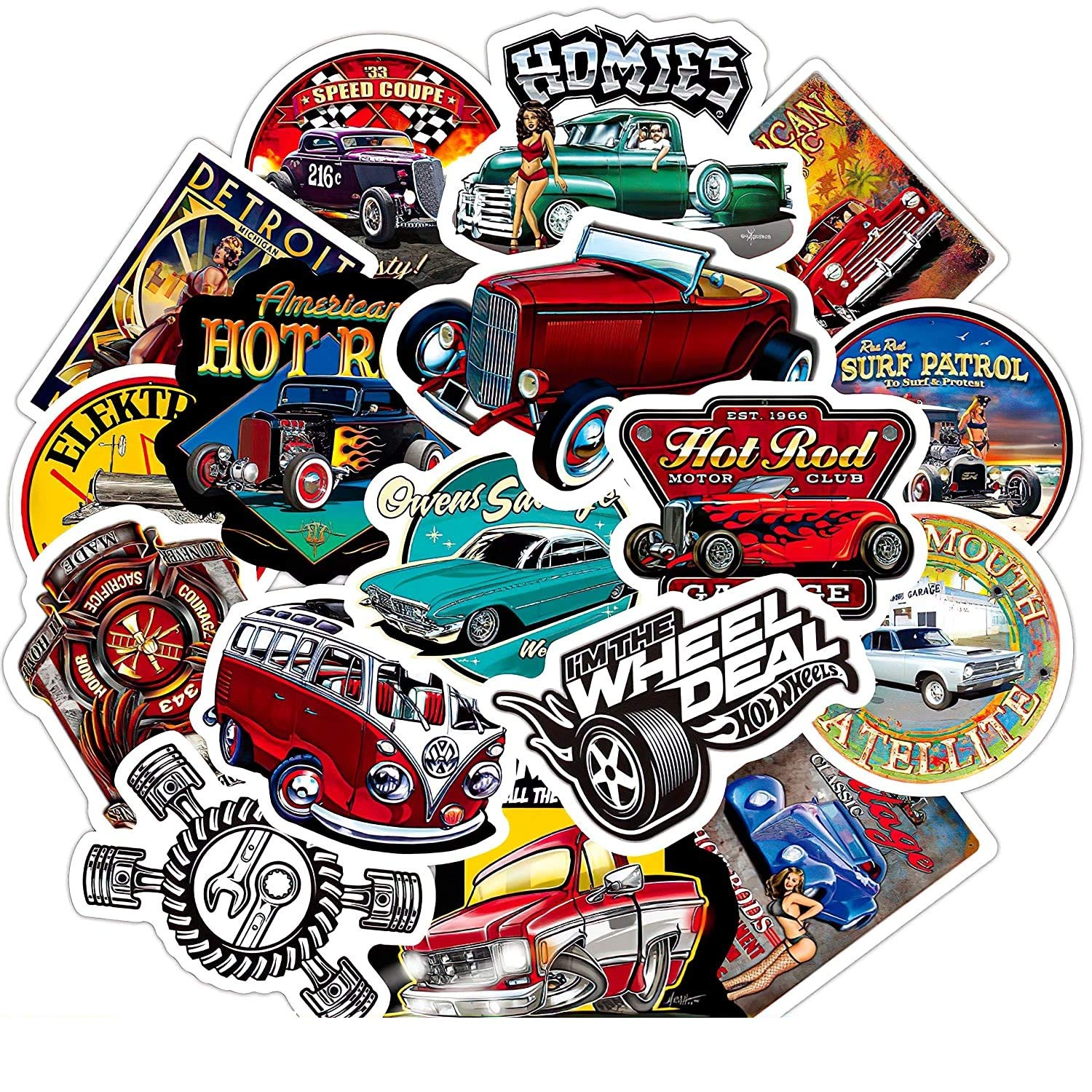 50Pcs Cool Hot Rod Stickers Sets for Motorcycle Snowboard Luggage Car Fridge Car Watter Bottle Sticker