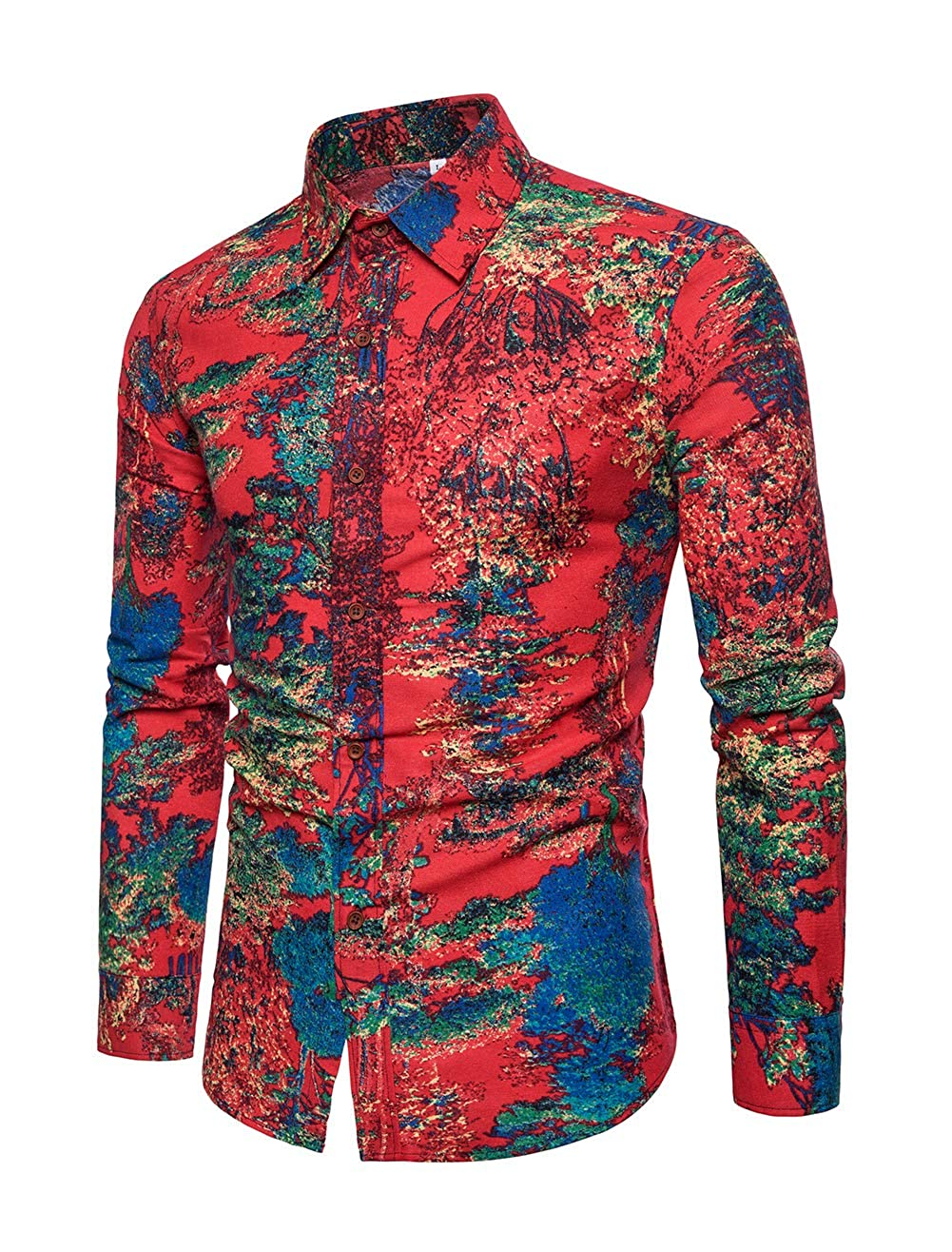 INVACHI Mens Casual Button Down Print Linen Shirts Long Sleeve Slim Fit Floral Shirt