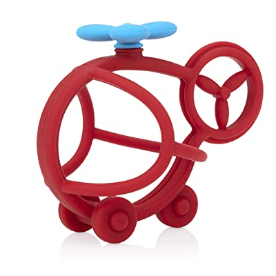 Nuby Chewy Chums All Silicone Soothing Teether, Helicopter- 3M+ : Baby