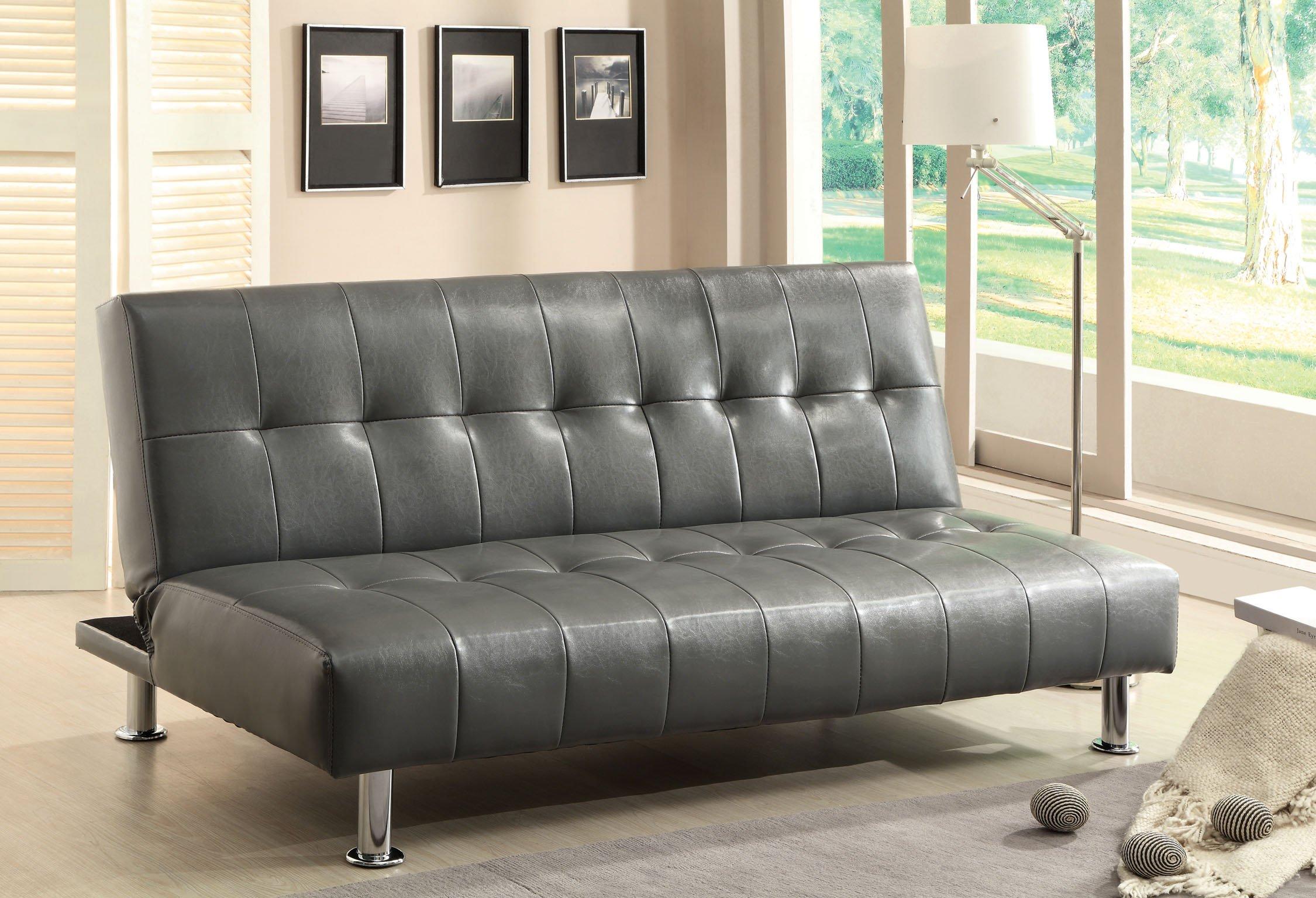 Furniture of America Botany Leatherette Convertible Sofa, Gray