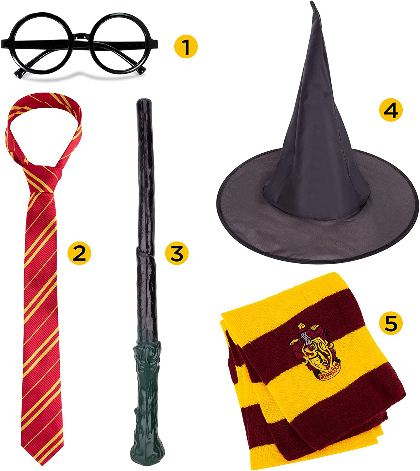 Magic Wand and Heathered Knit Scarf Glasses Frame Novelty Scarf Wizard 5 pcs Cosplay Set for Halloween Christmas -Striped Tie Wizard hat Halloween Wizard Cosplay Party Costumes Accessories