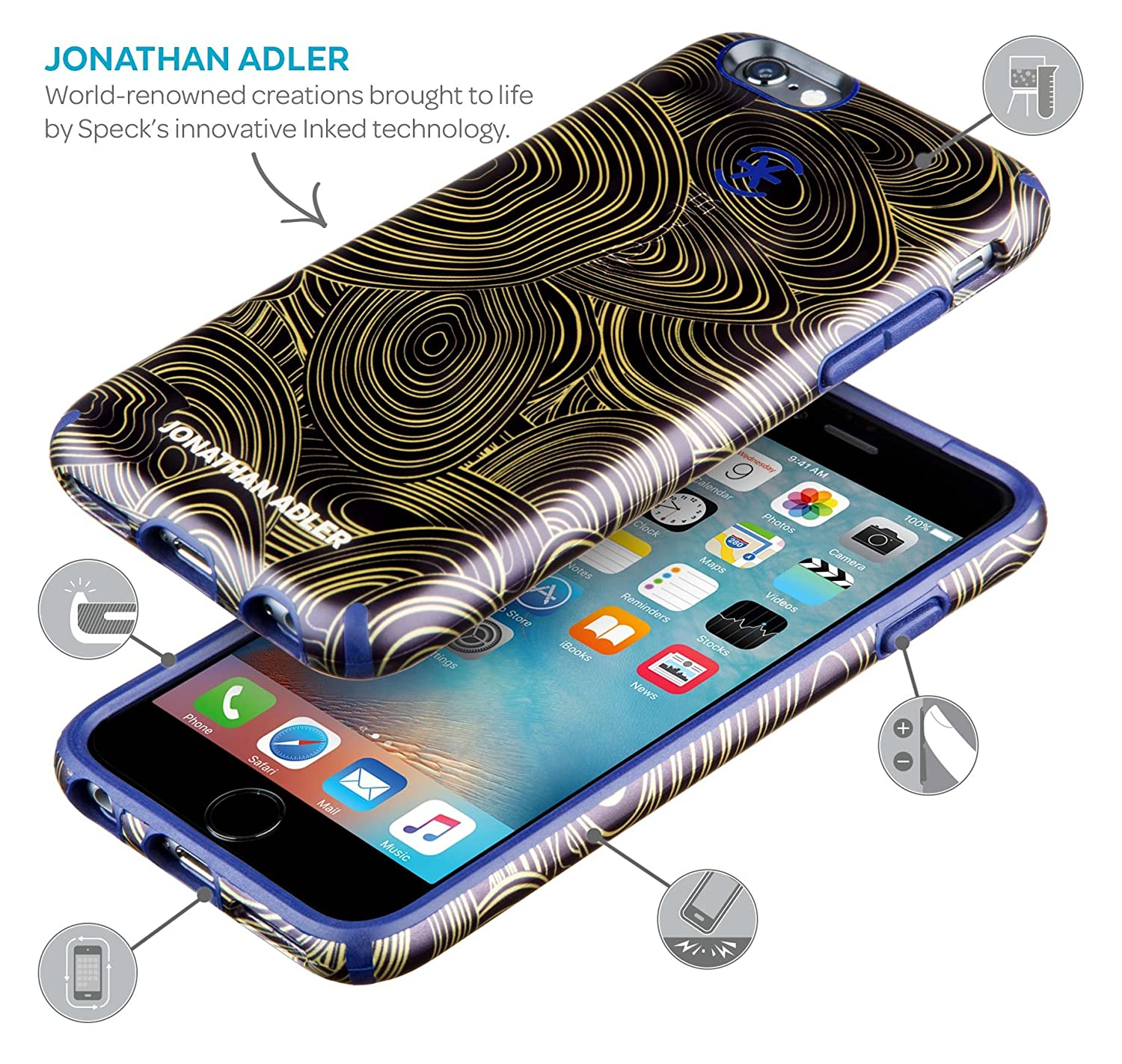 online store da6e6 ec8ff Speck Products CandyShell Inked Jonathan Adler Cell Phone Case foriPhone  6/6S - Retail Packaging - AquaGreekKey/Lipstick Matte