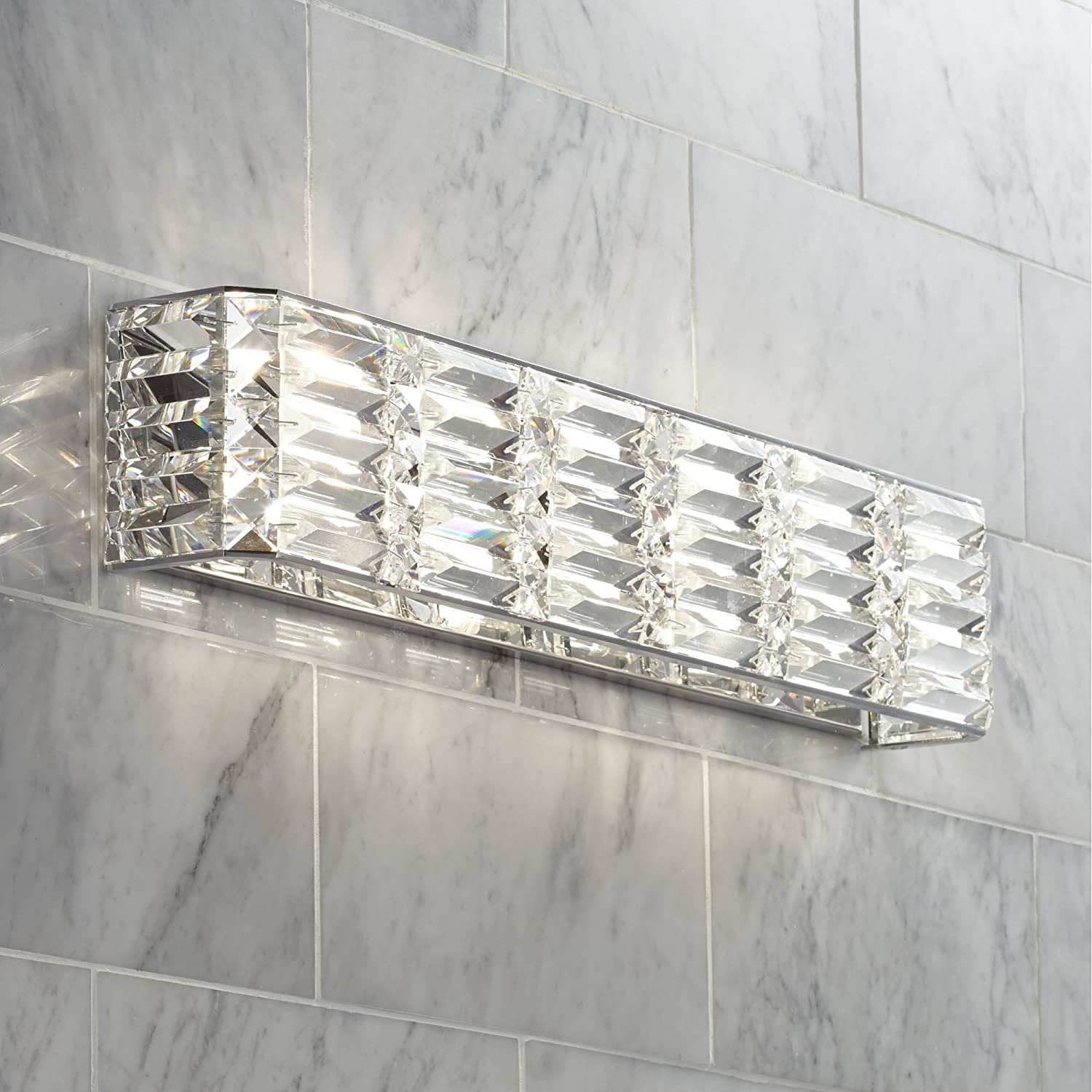 Vivienne Modern Wall Light Chrome Hardwired 24 1 2 Wide Light Bar Fixture Clear Crystal Accents for Bathroom Vanity – Possini Euro Design