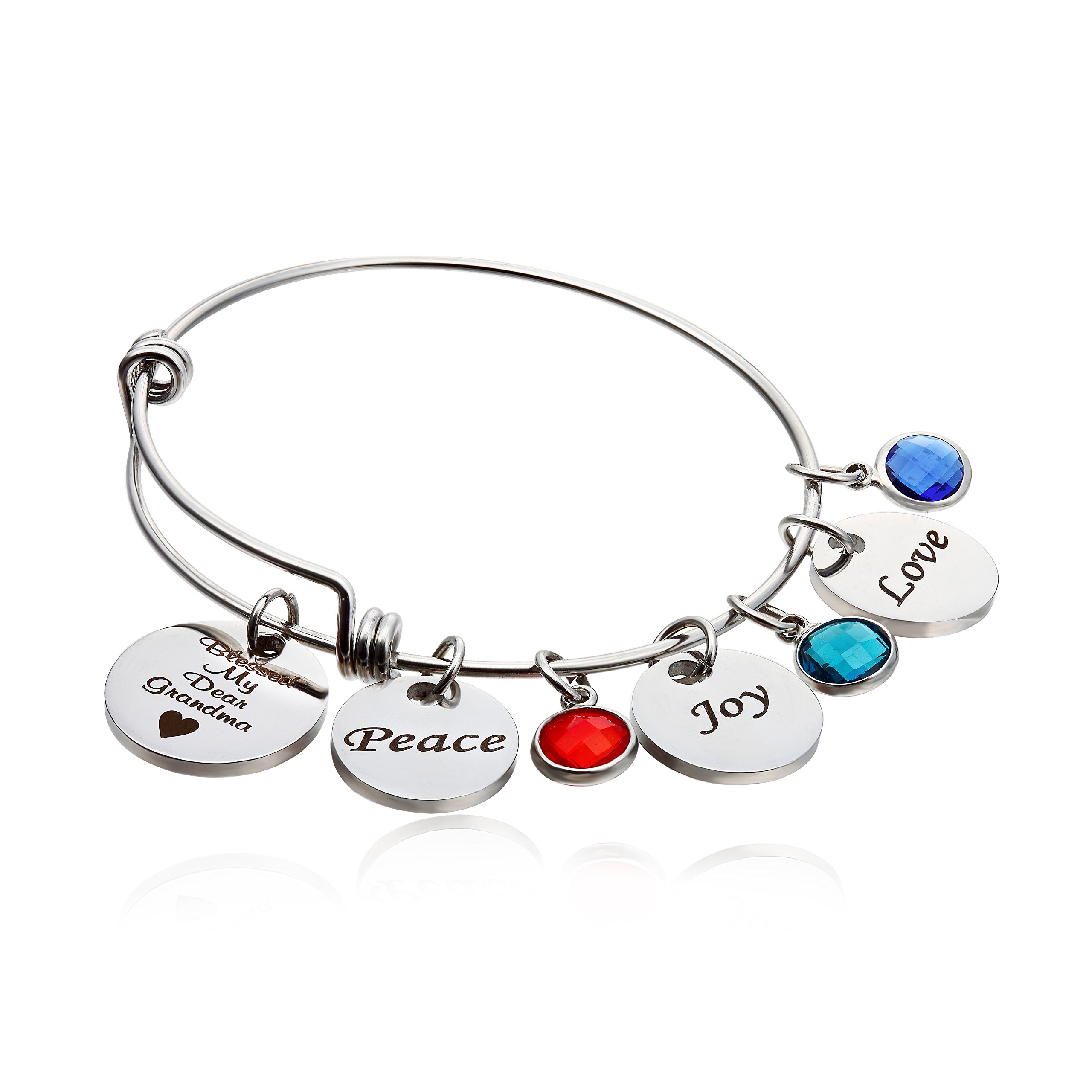 NBE Collection Grandma Bracelet With Birthstones, Blessed Grandma Jewelry Engraved Peace, Joy,Love Gifts for Grandmother (Grandma bracelet)