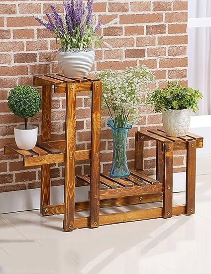 Amazon.com: CHAOXIAN - Estantería de madera para macetas de ...