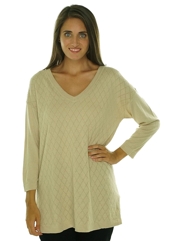 August Silk V-Neck Metallic Tunic Sweater