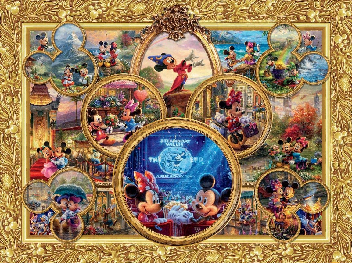 Ceaco Thomas Kinkade The Disney Collection Mickey's 90th Birthday Collage Jigsaw Puzzle, 1500 Pieces 813oLEpgybL