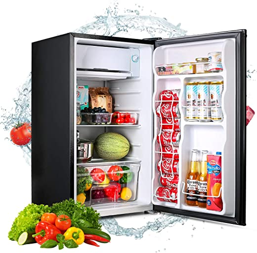 Compact Refrigerator, TACKLIFE 3.2 Cu.ft Mini Fridge with Freezer, Low Noise, Energy Star, 5 Temperature Settings, Small Fridge suitable for Bedroom, Office or Dorm, Classic Black