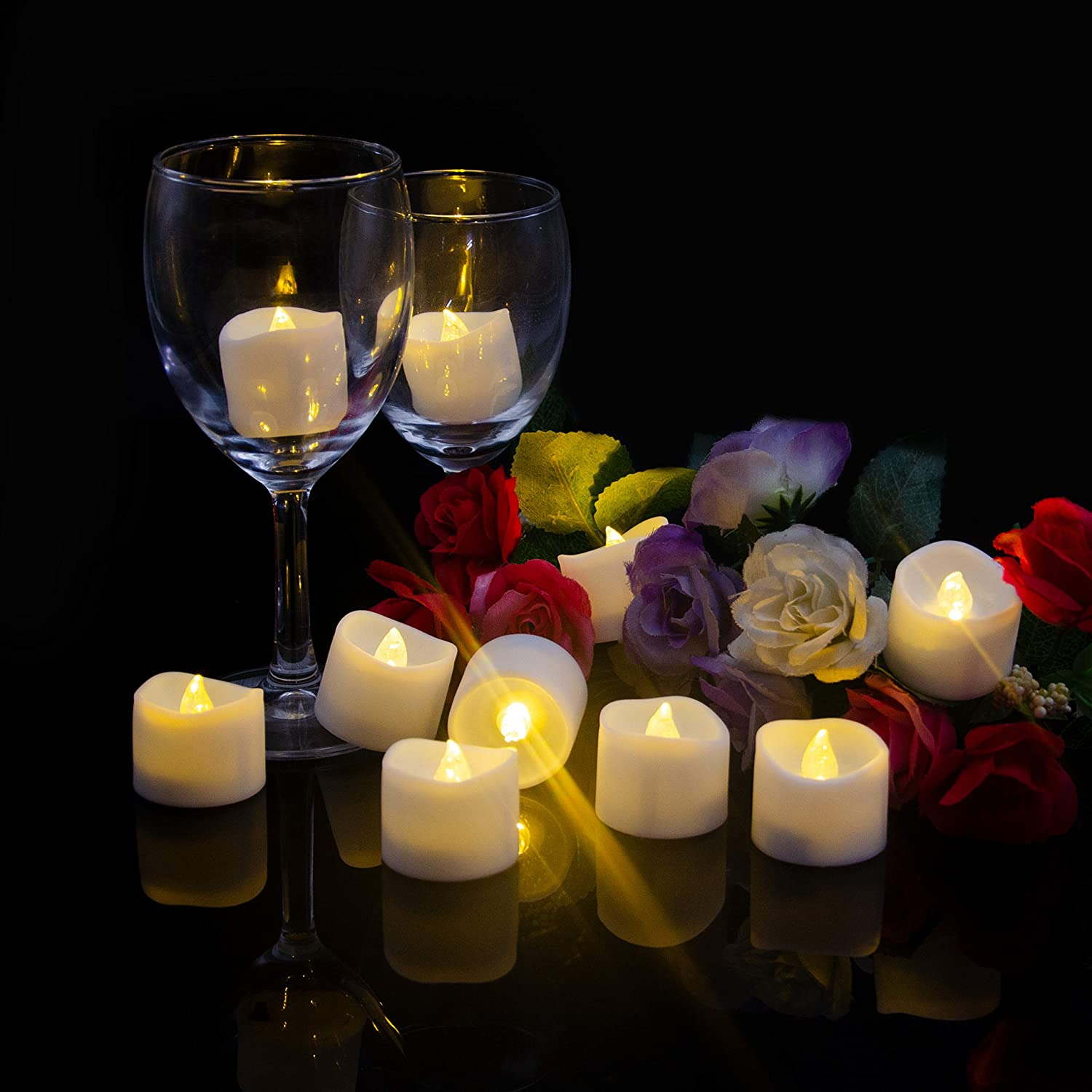 Flameless LED Candles, Pack of 12 Flameless Votive Candles Warm White Led Lights for Wedding and Tables Decoration,Gifts for Festival Celebration,Halloween,Christmas