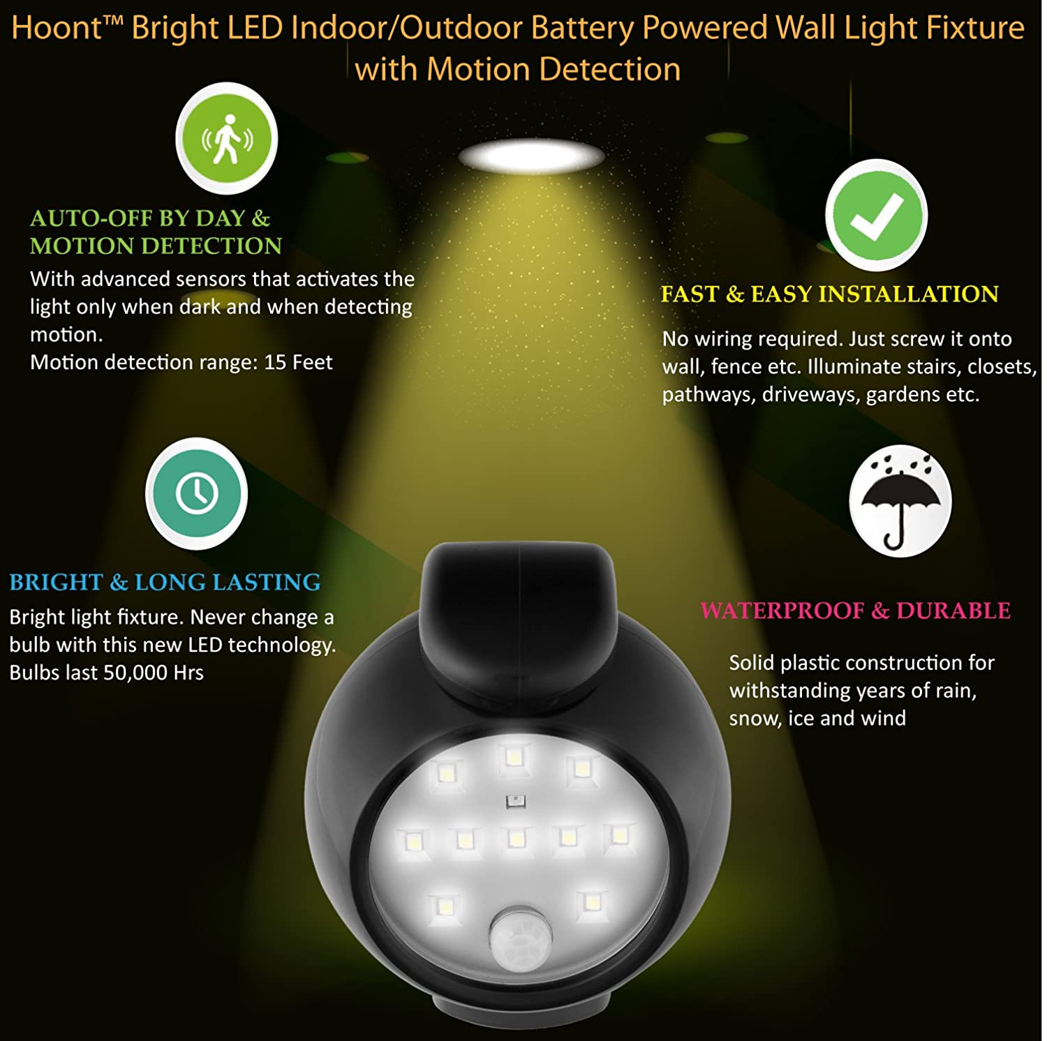 Hoont Bright LED Indoor/Outdoor Battery Powered Wall Light Fixture With  Motion Detection   Auto On/Off     Amazon.com