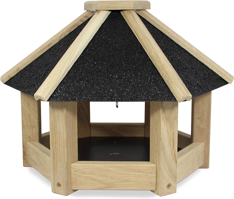 NEST TO NEST Bird Feeder Large | Bird Feeding Station | Bird Table | Bird Seed Feeder | Bird Feeder Station Hexagonal, Black Roof, Premium Quality