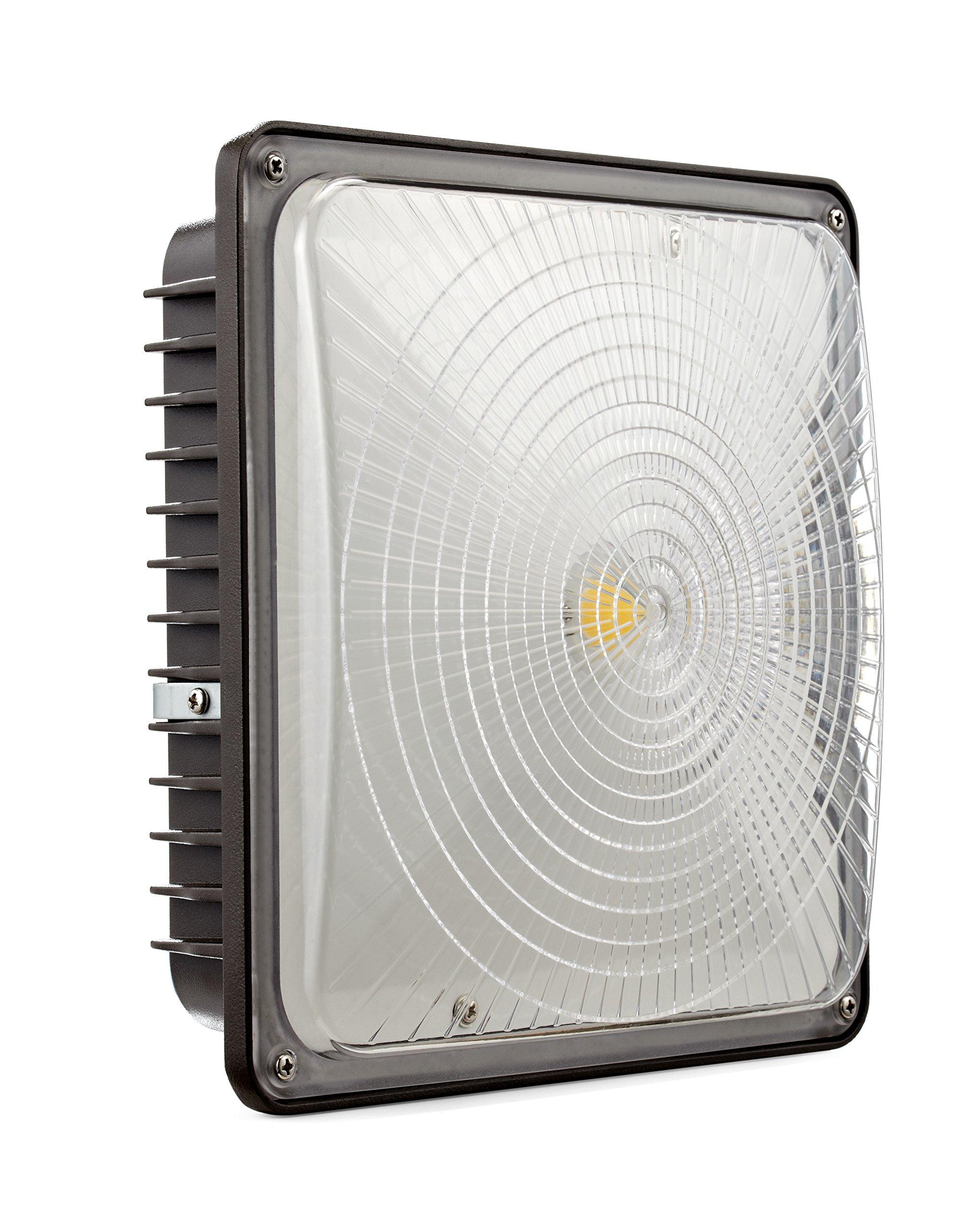 D-Lites 45W LED Canopy Fixture, 5000K, Dark Bronze, 4,200 Lumens, 0-10V Dimmable