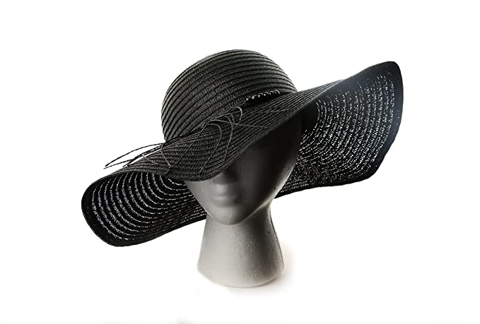 Captain Big Floppy Beach Sun Hat Wide Brim Straw Hat for Women Black Medium 5cd3af55c72