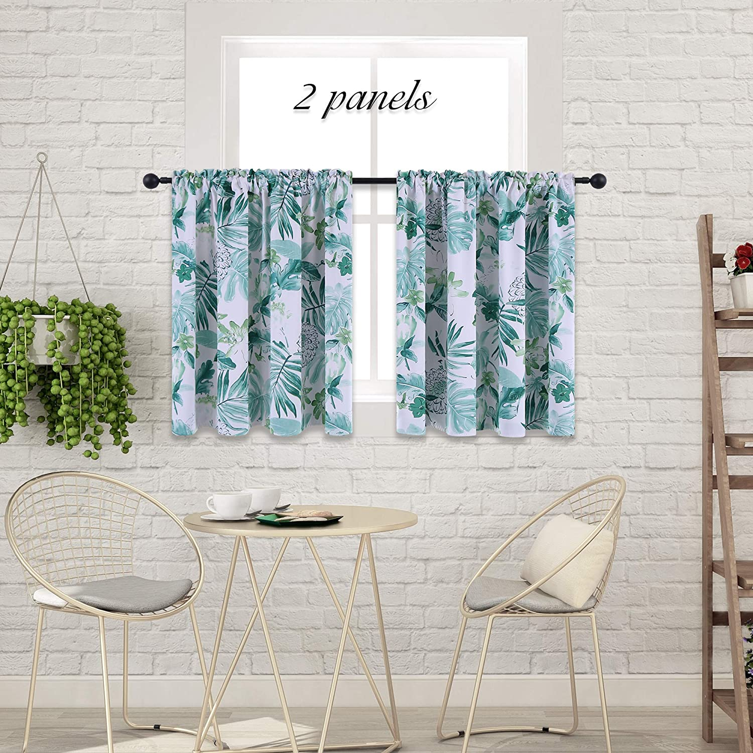 HOLKING Window Curtains Tiers-Green Floral Pattern Blackout Curtain Valances for Living Room (52-inch x 36-inch, Rod Pocket, 2 Panels)