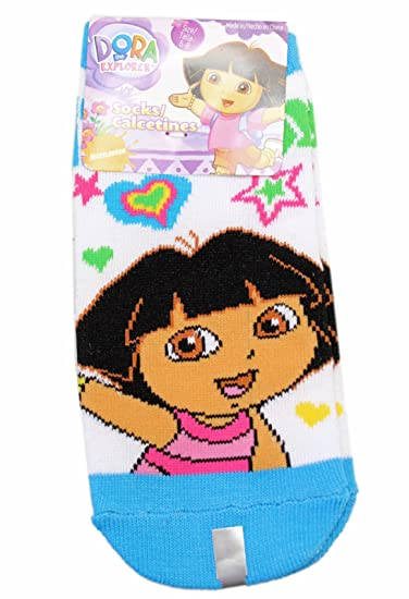 Dora the Explorer Stars and Hearts Sky Blue/White Socks (Size 6-8