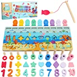 Sitodier Wooden Number Puzzle Sorting Montessori Toy for Toddlers   Shape Puzzle Matching Counting Fishing Game for Ages 2 3