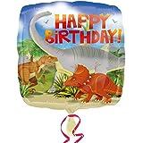 (アムスキャン) Amscan キッズ 恐竜 Happy Birthday お誕生日 アルミ風船 バルーン (ワンサイズ) (マルチカラー)