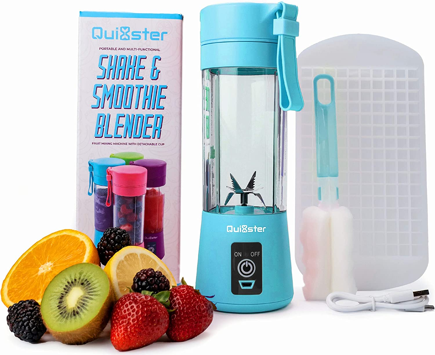 Quixster Portable Blender for Shakes and Smoothies. Personal Size Blender for Shakes and Smoothies. Personal Blender. Mini Blender. USB Rechargeable Travel Juicer including 50 Smoothie Recipes (Blue)