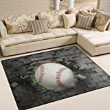 Naanle Sport Area Rug 5'x7', Baseball Polyester Area Rug Mat for Living Dining Dorm Room Bedroom Home Decorative