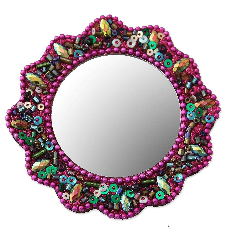 Festivity in Fuchsia NOVICA Magenta Beaded Bollywood Theme Handheld Purse Portable Makeup Mirror 3 Wide