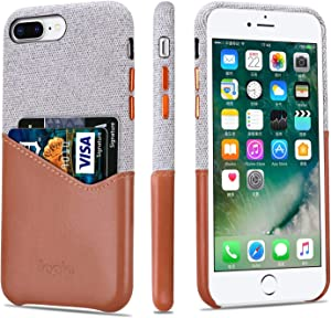 Lopie [Sea Island Cotton Series] iPhone 7 Plus/iPhone 8 Plus Case with Card Holder, Fabric Slim Back Cover with Leather Card Slot Design, Light Brown