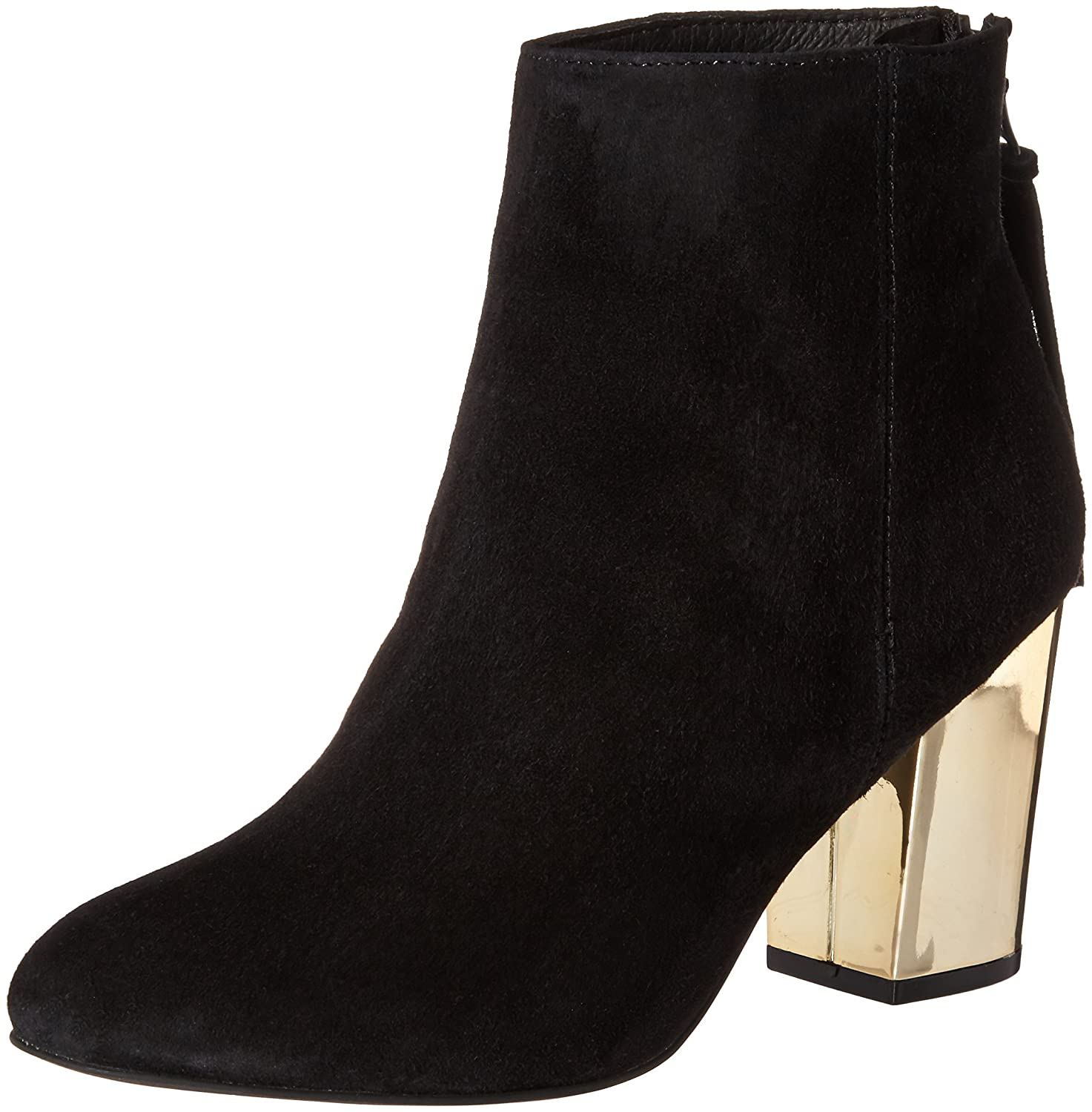 Cynthiam Ankle Bootie, Black Suede/Gold