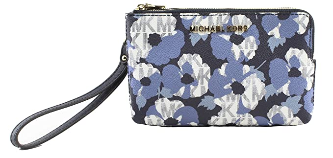 bfa920874f022c Image Unavailable. Image not available for. Color: MICHAEL Michael Kors  Women's Large Double Zip Floral Wristlet in Navy ...
