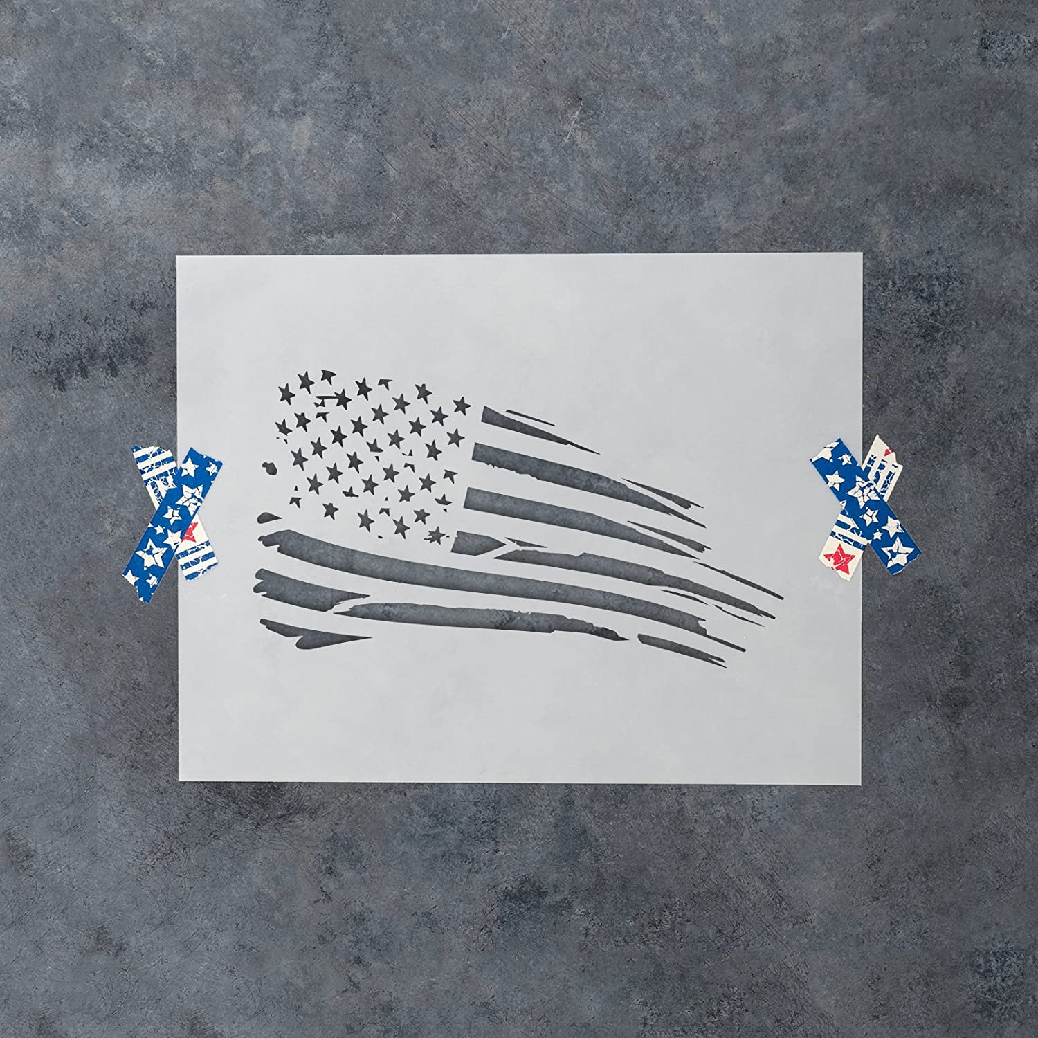 Reusable Stencils for Painting in Small /& Large Sizes American Flag Rugged Stencil Template for Walls and Crafts