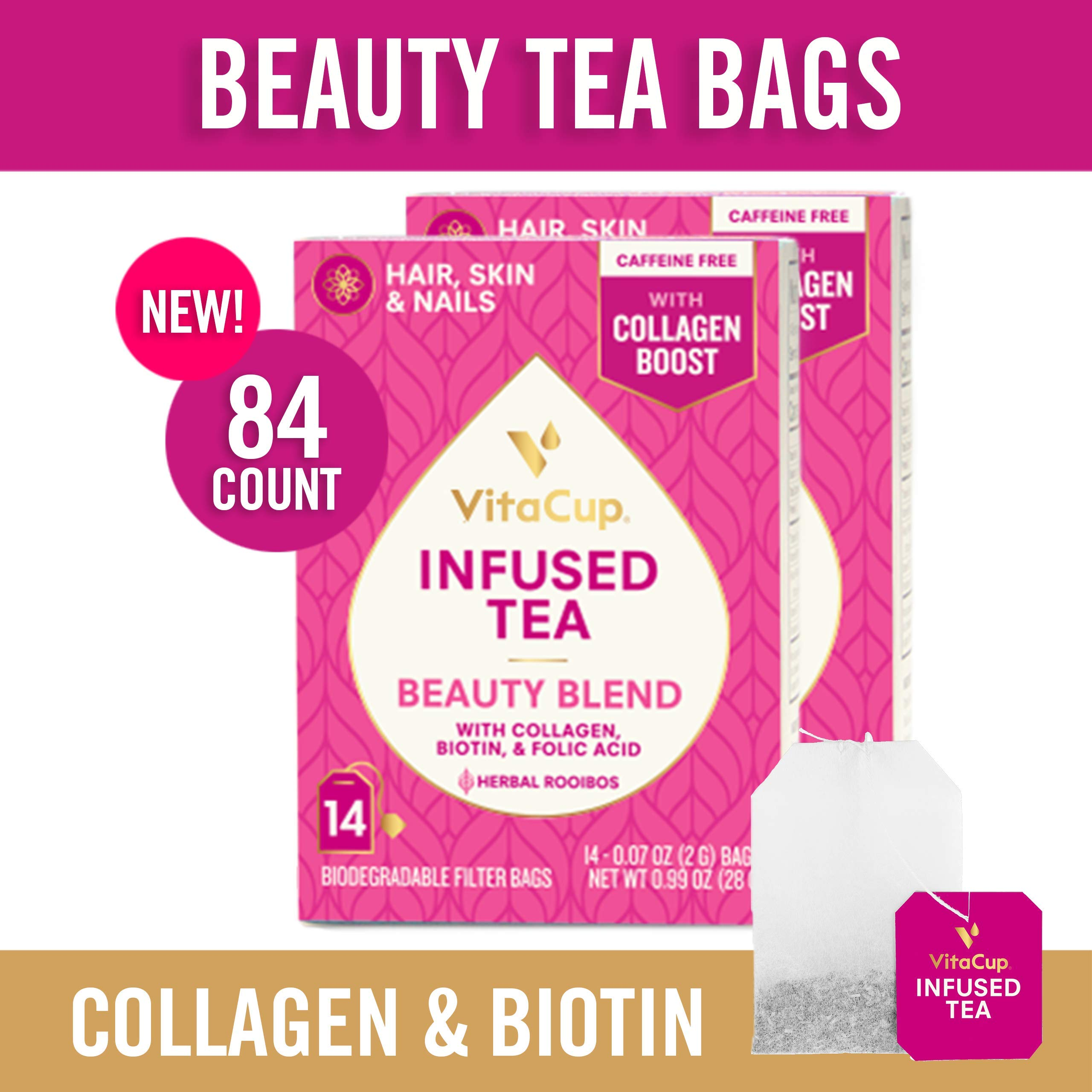 VitaCup Beauty Blend Infused Tea 84 ct |Keto|Paleo|Whole30| Jasmine Herbal Rooibos Caffeine Free Tea with Collagen Types I & III, Biotin (B7) & Folic Acid (B9) Helps Support Healthy Hair, Skin & Nails