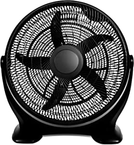 Simple Deluxe 14 Inch 3-Speed Plastic Floor Fans Oscillating Quiet for Home Commercial, Residential, and Greenhouse Use, Outdoor/Indoor, Black (HIFANXFLOOR14PLATICEXP)