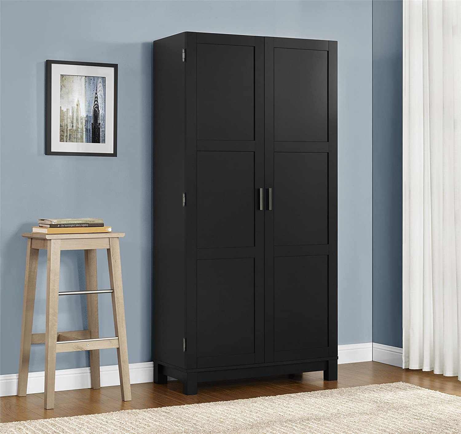 Amazon com ameriwood home carver 64 storage cabinet black kitchen dining
