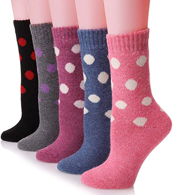 ff545c40d70f6 Image Unavailable. Image not available for. Colour: Womens Wool Socks Thick  Heavy Thermal Cabin Fuzzy Winter Warm Crew Socks For Cold Weather 5