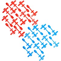 Kicko Plastic Airplane Cupcake Toppers with Spoon 3.75 Inches - 25 Pieces - Cute Blue and Red Airplane Cupcake Picks…