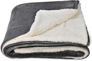 SOCHOW Sherpa Fleece Throw Blanket, Double-Sided Super Soft Luxurious Plush Blanket 50 × 60 Inches, Grey